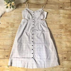 Madewell White Windowpane Cut Out Dress Size 14